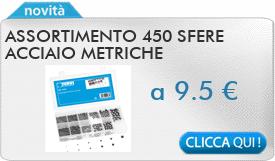 IN PROMOZIONE: Assortimento 450 sfere acciaio metriche