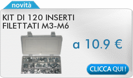 IN PROMOZIONE: Kit di 130 inserti filettati M3-M6
