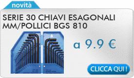 IN PROMOZIONE: Serie 30 chiavi esagonali mm/pollici BGS 810