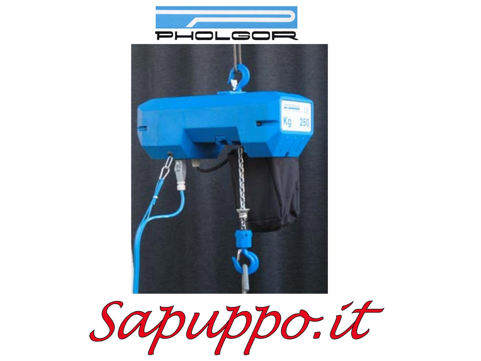 Paranco elettrico a catena a 2 velocità con carrello a traslazione a spinta - PHOLGOR
