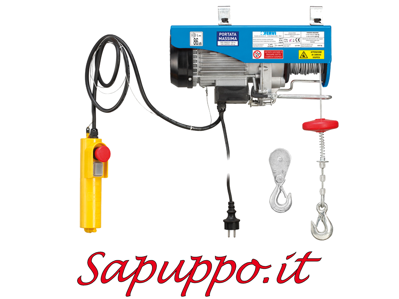 Paranco elettrico kg 200 400 fervi 0602 for Paranco elettrico 1000 kg